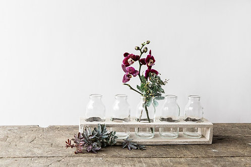 Wooden Tray with 5 Bottles