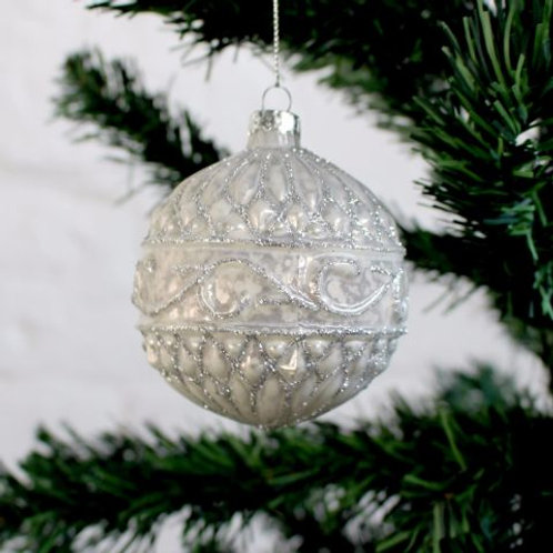 Silver and White Bauble