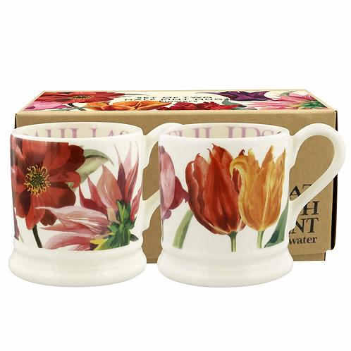 Flowers Set Of 2 1/2 Pint Mugs Boxed