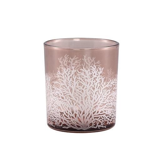 Kamil Pink glass tealight bush print round L