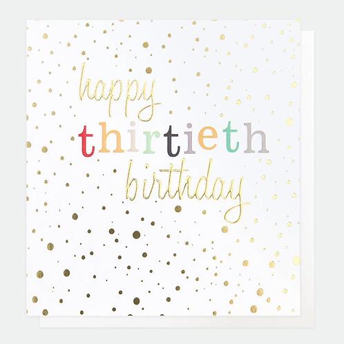 Gold Confetti 30th Birthday Card