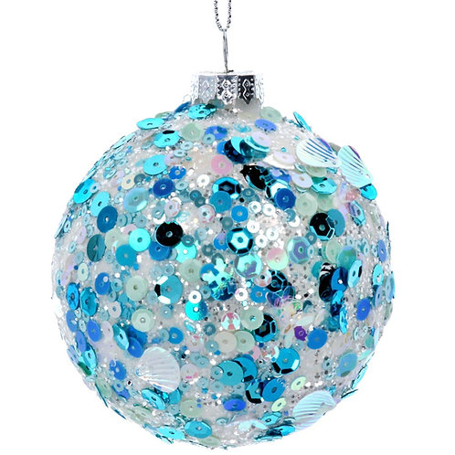Clear/Blue Sequin Glass Bauble