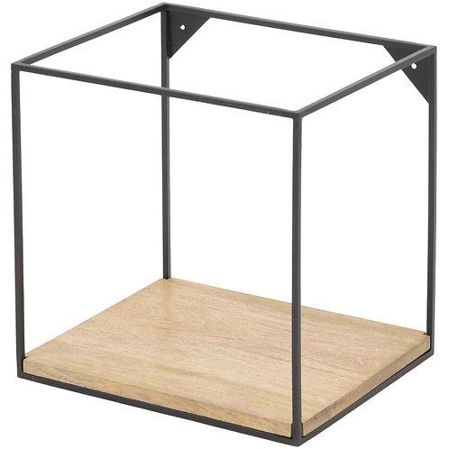Kempsey Wood and Iron Medium Single Shelf Wall Unit