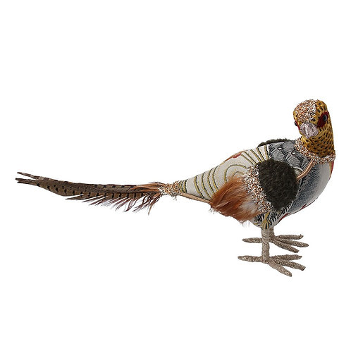 Patchwork Pheasant Fabric/Feather Ornament