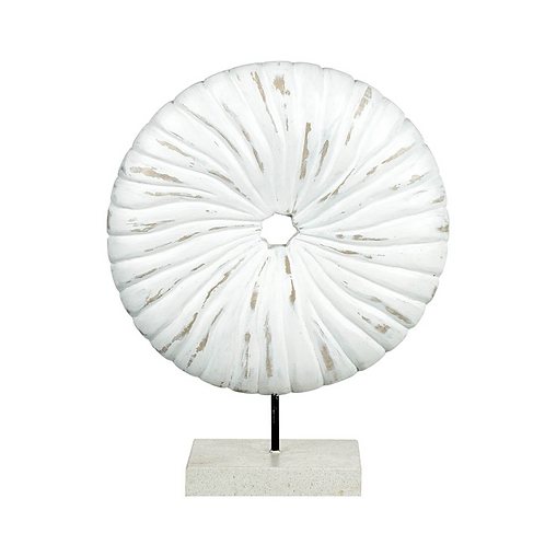 Wood/Stone White Disc on Stand
