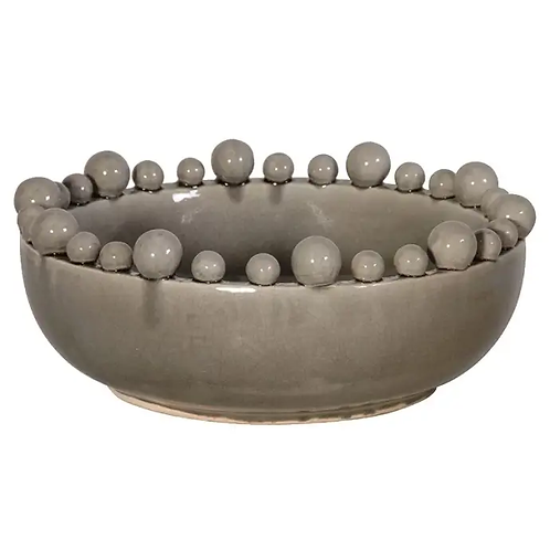 Grey Bowl with Balls On Rim