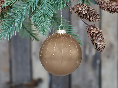 Mocca Glitter Bauble with Glaze