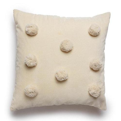 Square Cream Pom Pom Cushion