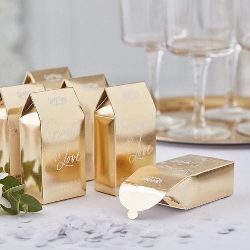 GOLD WEDDING WHITE BIODEGRADABLE CONFETTI BOXES