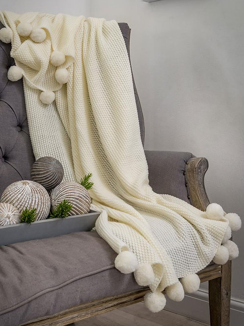 Ivory Pom Pom Throw