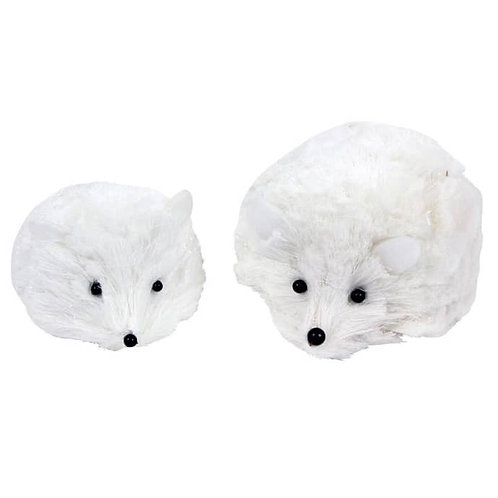 Set of 2 Bristle White Hedgehogs Ornaments