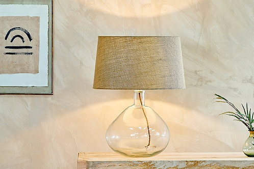 Large Wide Recycled Glass Baba Lamp with Extra Large Shade