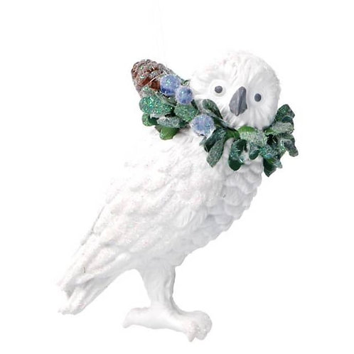 White Resin Owl With Eucalyptus Blueberries Decoration Figurine
