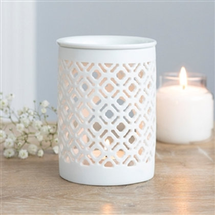 White Lattice Cut Out Wax Melter / Oil Burner