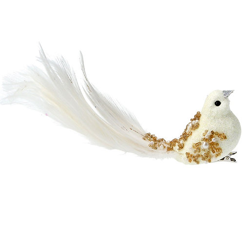 Bird on Clip (5cm) - Cream with Gold Beads