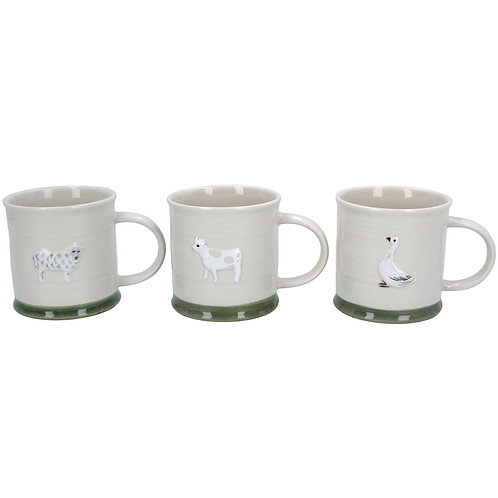 Ceramic Mini Mug -Sheep/Cow/Goose, 3 Assorted