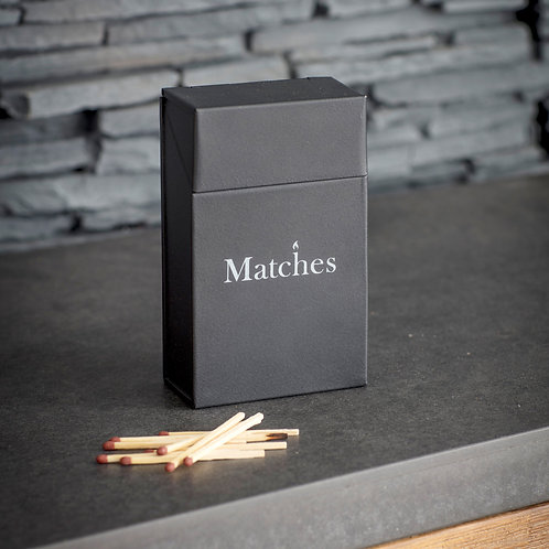 Steel Match Box in Black