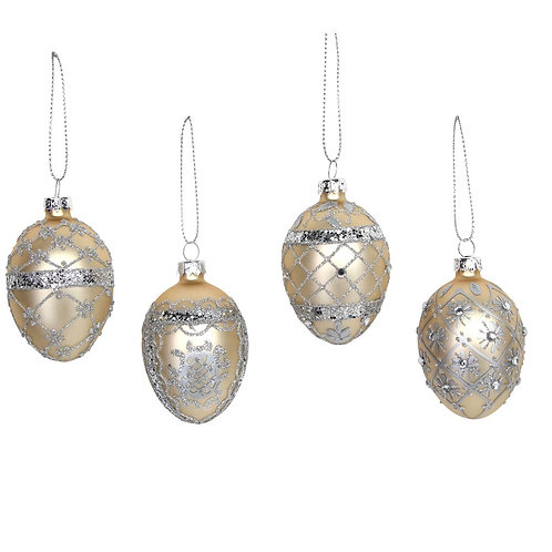 Glass Egg 7cm - Matt Gold/Silver, 4 assorted