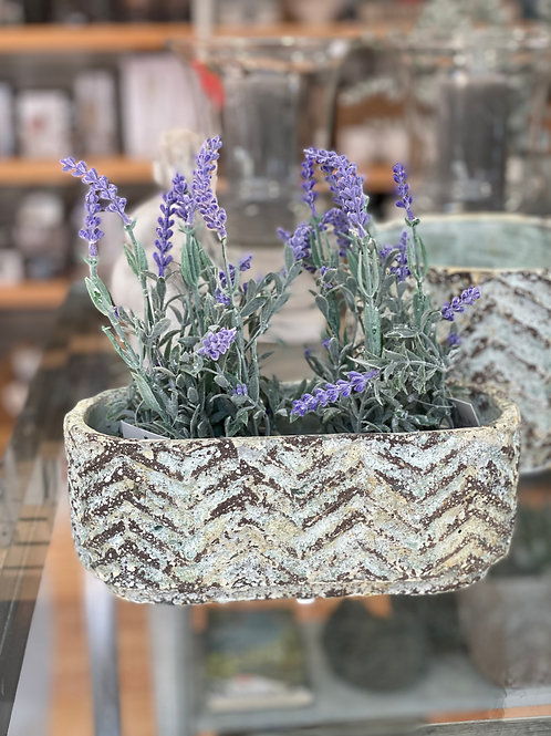 Baby Blue cement pot wave oval low M
