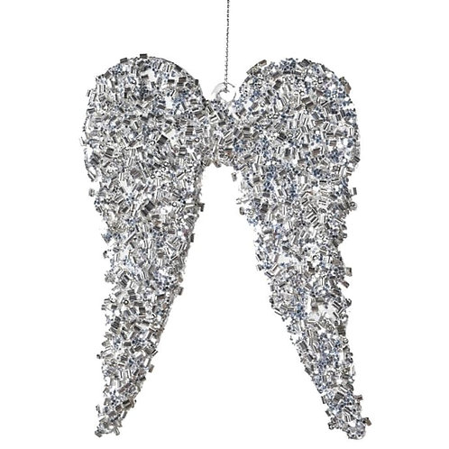 Silver Glass Angel Wings