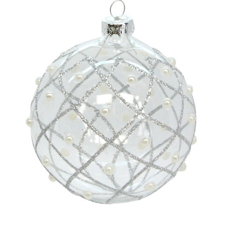 Glass Bauble 8cm - Clear/Silver Trellis & Pearls