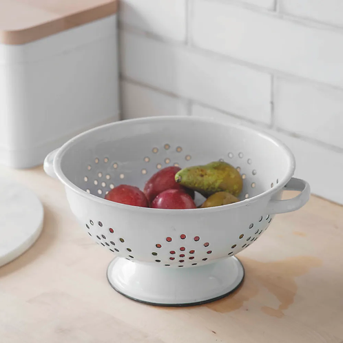 Enamel Colander in White