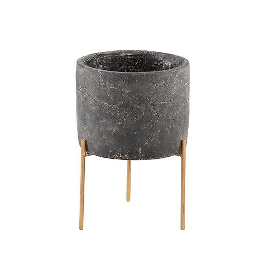 Krizz Grey cement pot iron legs round M