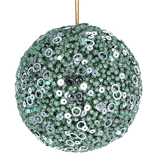 Ball Dec (8cm) - Pale Green Sequins