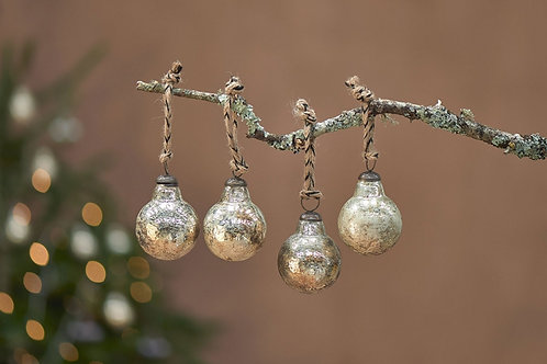 Ometti Round Baubles - Rustic Gold - Set of 4
