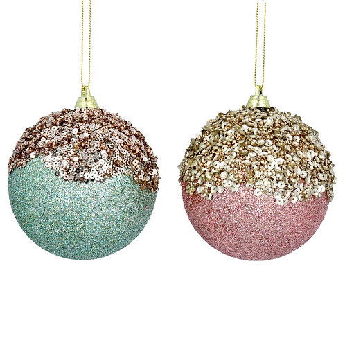 Blue or Pink Bauble with Gold Sequins