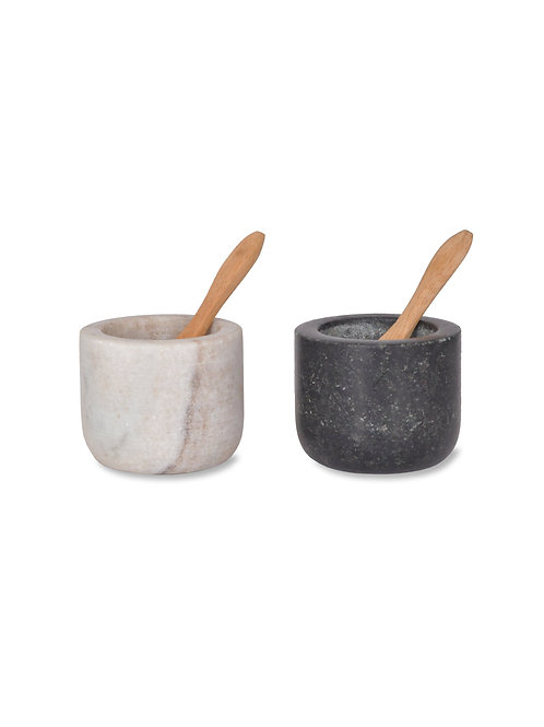 Marble and Granite Salt And Pepper Pots With Bamboo Spoons