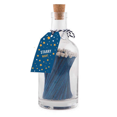Starry Sky Blue Matches in A Glass Apothecary Bottle