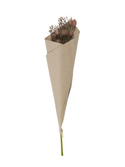 Bouquet wrapped in recycled Kraft paper purple tones