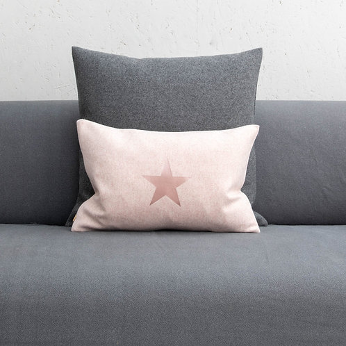Pink with Rose Gold Star Print Oblong Felt Cushion