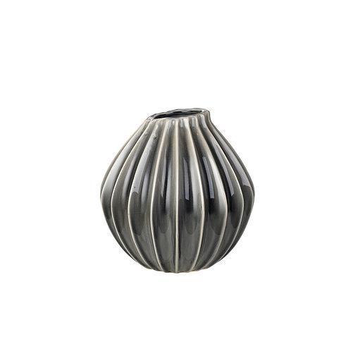 Ceramic Medium Smoked Pearl Ripple Vase