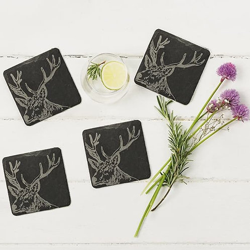 Set of 4 Etched Slate Stag Coasters
