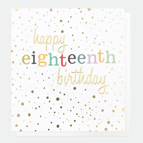 Gold Confetti 18th Birthday Card