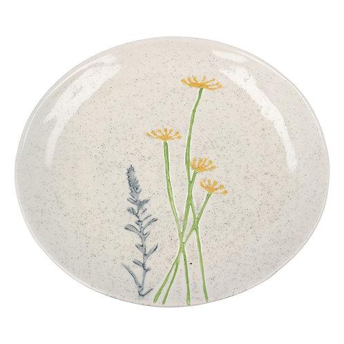 Ceramic Plate - Yellow Daisy/Lavender