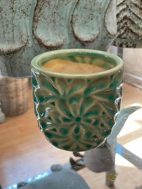 Suzu Blue ceramic glazed pot flower motif round S