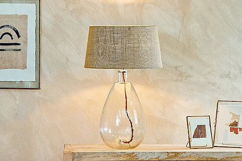 Baba Glass Lamp Clear Large Tall With Large Shade