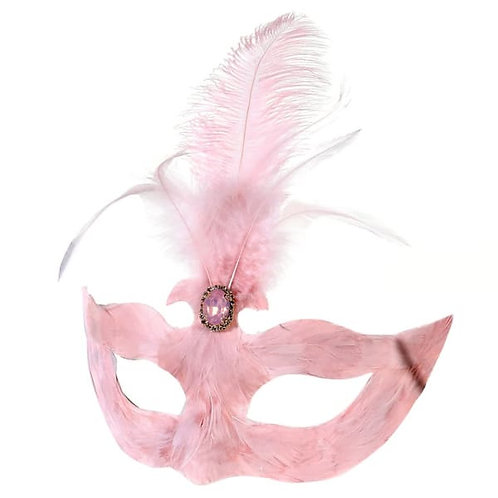 Soft Pink Feather Mask