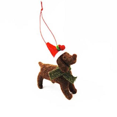 Hanging Festive Dog with Santa Hat
