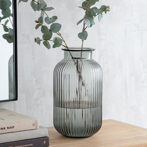Glass Ribbed Vase in Large