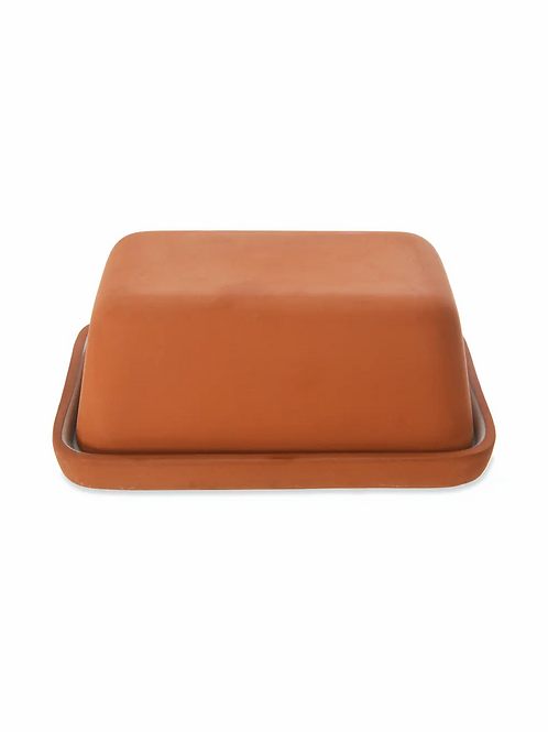 Red Stoneware Ceramic Butter Dish