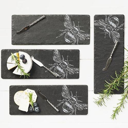 4 Mini Bee Slate Cheese Board & Knife Set