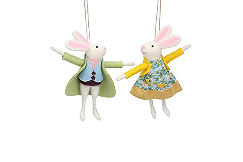 Choice of 2 wool Mr and Mrs bunny 2 easter hanging decorations
