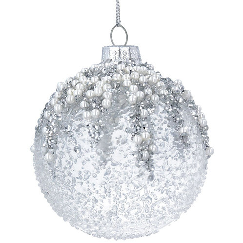 Glass Bauble (8cm) - Clear/Silver w Beads/Pearls