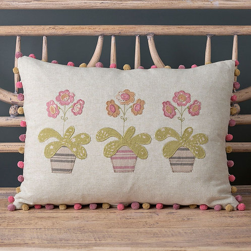 Embroidered Auriculas Cotton Cushion