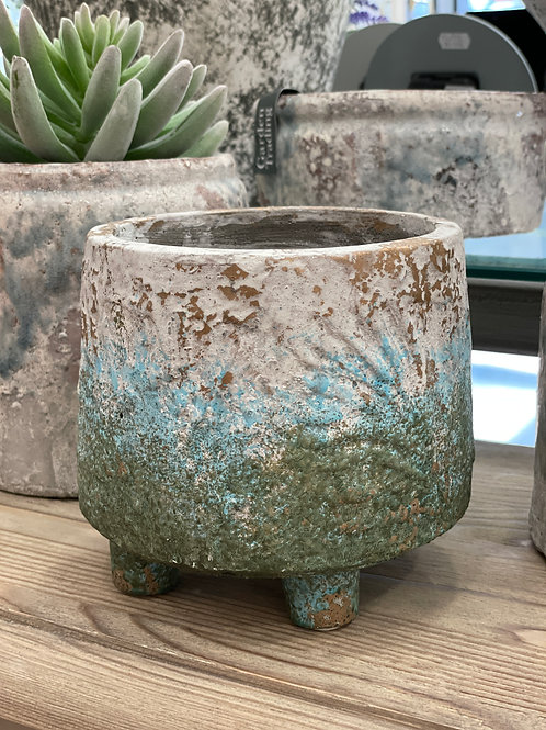 Benton Blue cement pot rust border round S