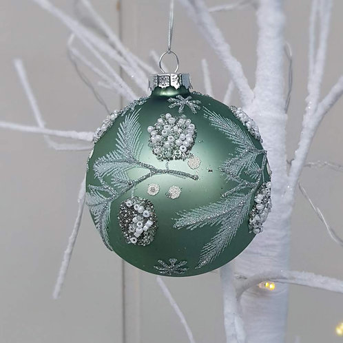 Sage Green Glass Bauble